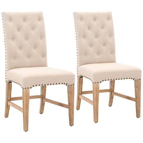 Traditions Wilshire Natural Fabric Dining Chair Set of 2