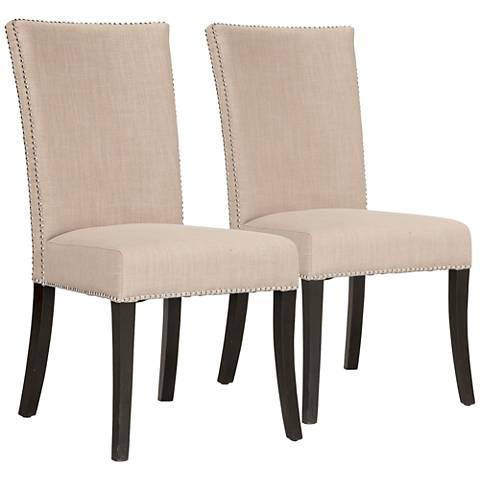 Villa Soho Almond Fabric Dining Chair Set of 2