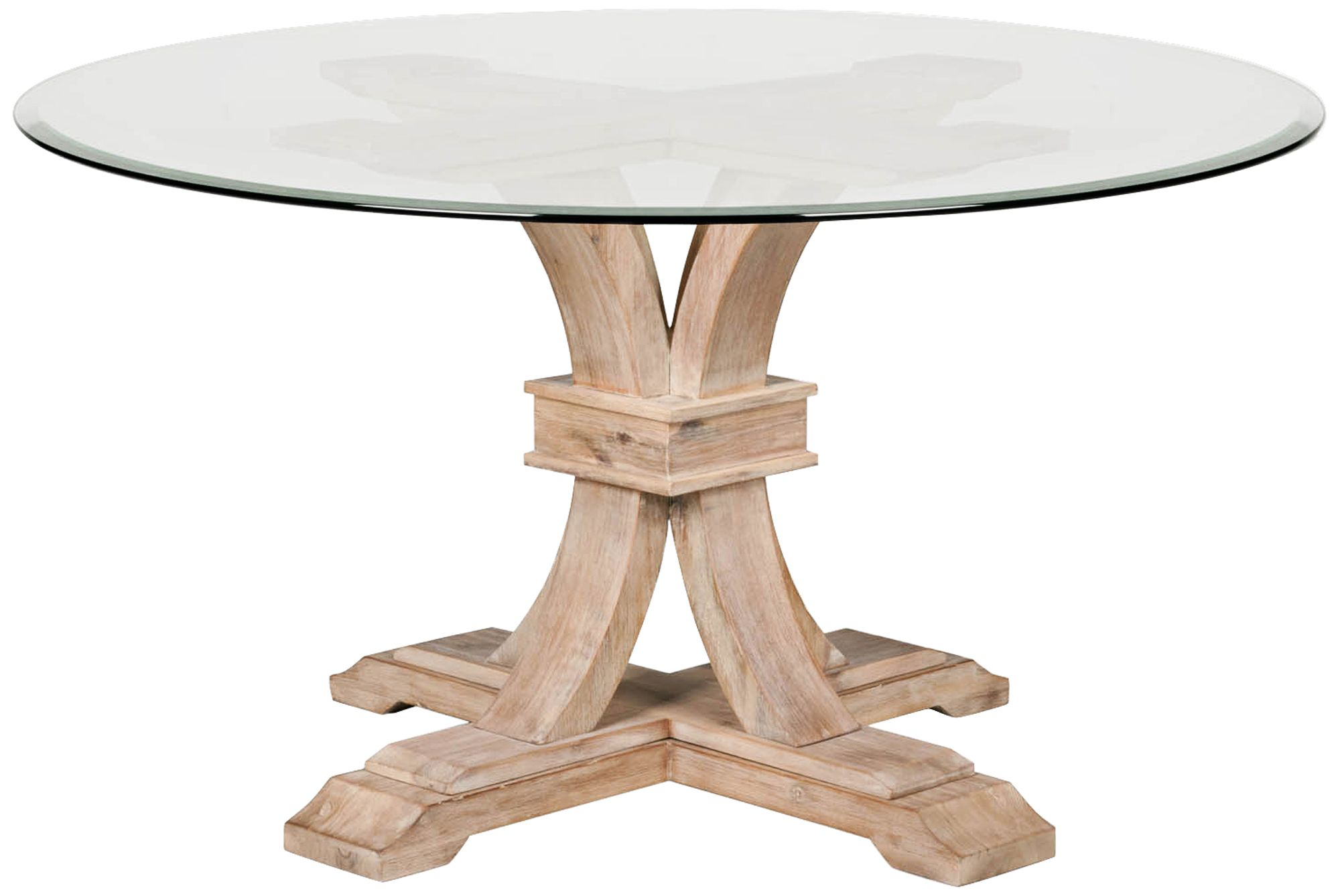 Traditions Devon Glass Top Stone Wash Round Dining Table