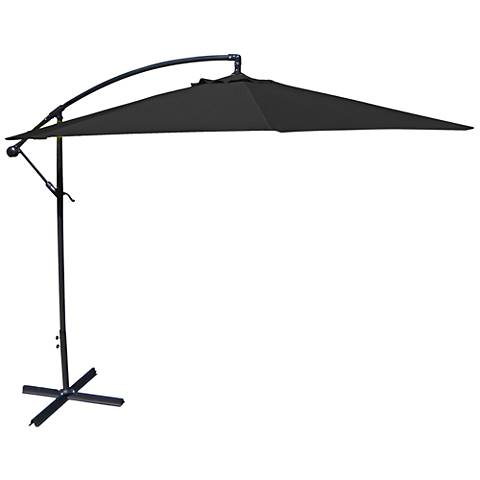 Carlsbad Black 10' Steel Offset Umbrella