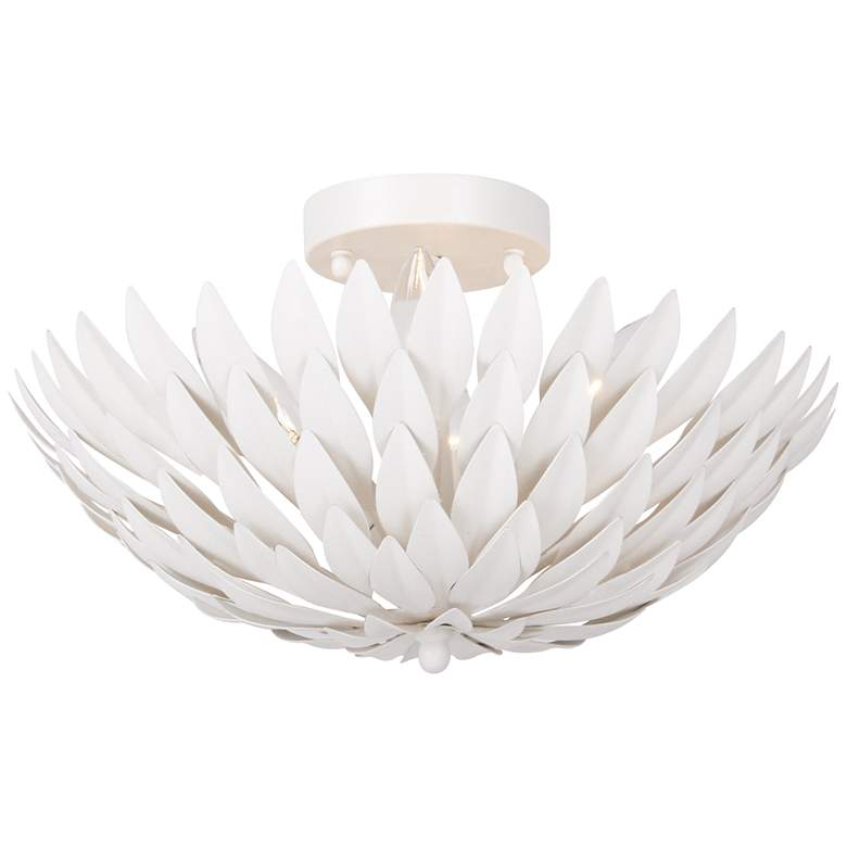 """Crystorama Broche 16""""W Leaves Matte White Ceiling Light"""