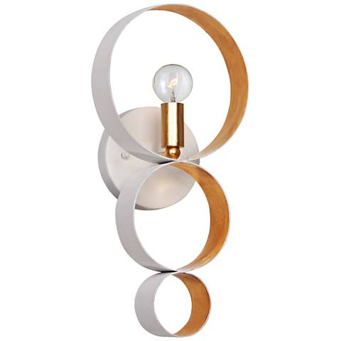 """Crystorama Luna 14 3/4""""H White 3-Ring Gold Wall Sconce"""
