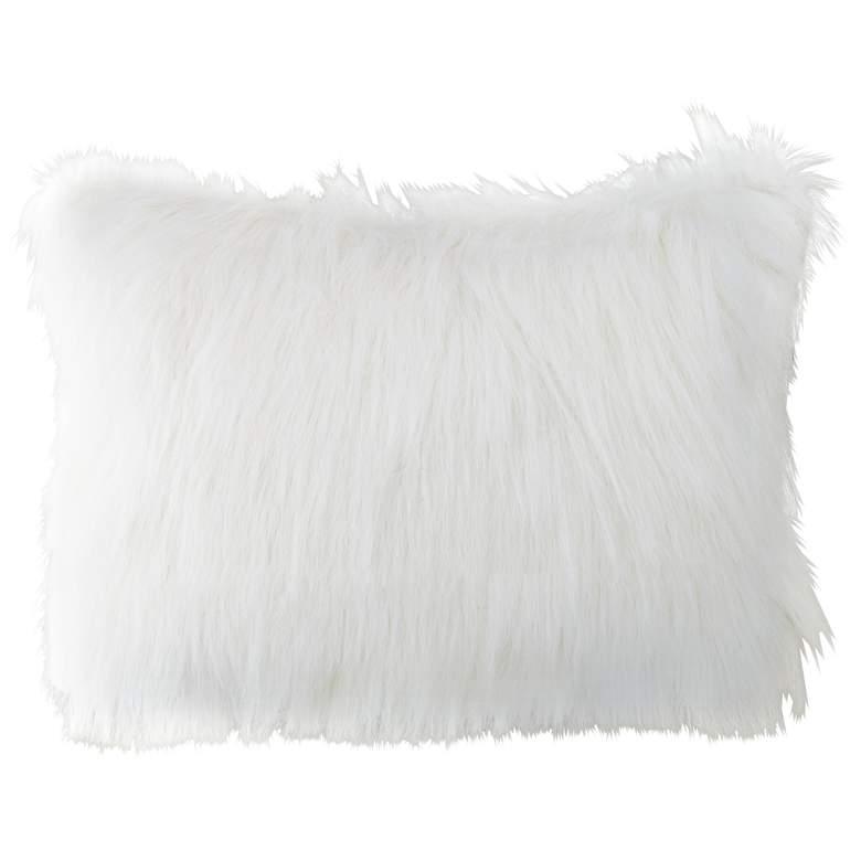 """Fox White 20""""x14"""" Plush Faux Fur Bolster Pillow"""