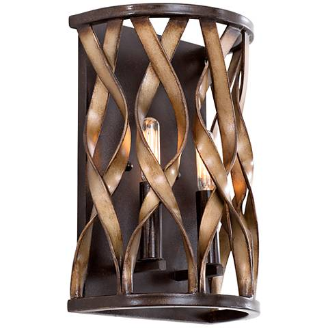 "Soho 12""H Milk Chocolate Braided Iron Twist Wall Sconce"