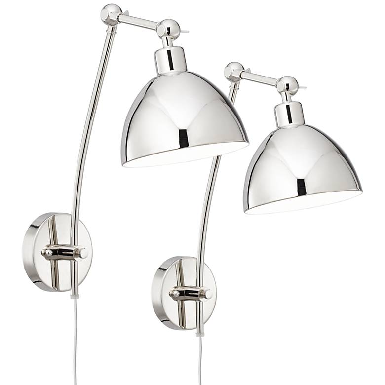 Delon Chrome Adjustable Plug-In Wall Lamp Set of 2
