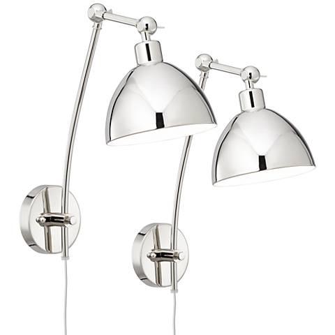 Delon Chrome Adjule Plug In Wall Lamp Set Of 2 1p792 Lamps Plus