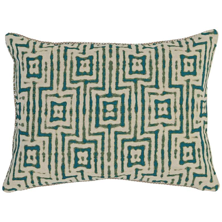"""Resort Turquoise Print 20"""" x 14"""" Fabric Accent Pillow"""