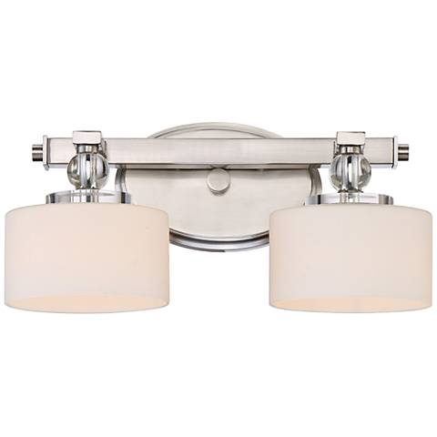 """Quoizel Downtown 15"""" Wide Brushed Nickel LED Wall Sconce"""