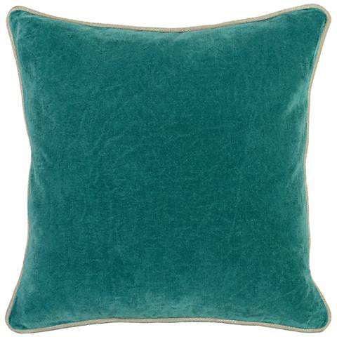 "Grandeur Pacific 18"" Square Cotton Velvet Accent Pillow"