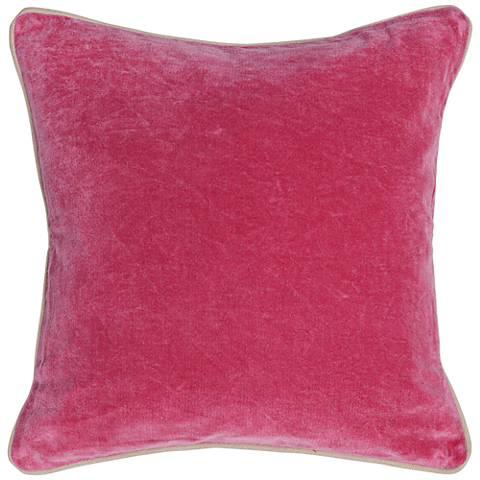 """Grandeur Fuchsia 18"""" Square Cotton Velvet Accent Pillow"""