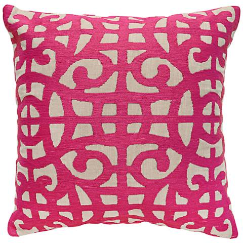 """Jubilee Fuchsia 22"""" Square Embroidered Accent Pillow"""