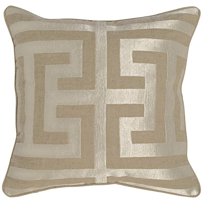 "Jubilee Pearl 22"" Square Metallic Gold Accent Pillow"