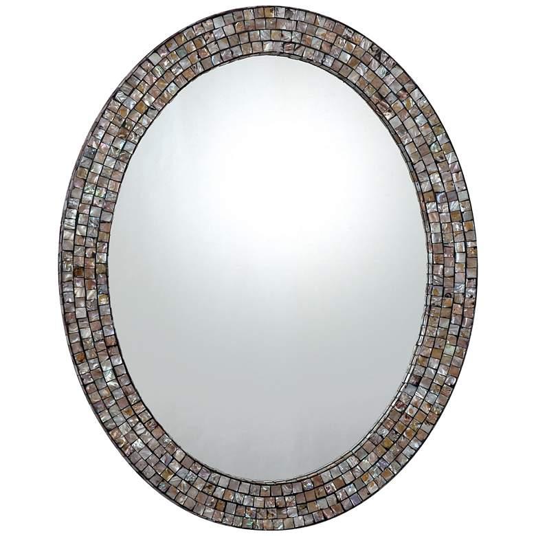 "Quoizel Sage Shell Mosaic 24"" x 30"" Oval Wall Mirror"