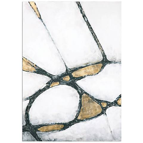"""Uttermost Abstract in Gold and Black 60"""" High Wall Art"""