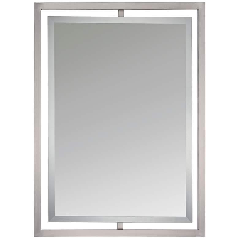 "Quoizel Marcos Nickel 24"" x 32"" Floating Wall Mirror"