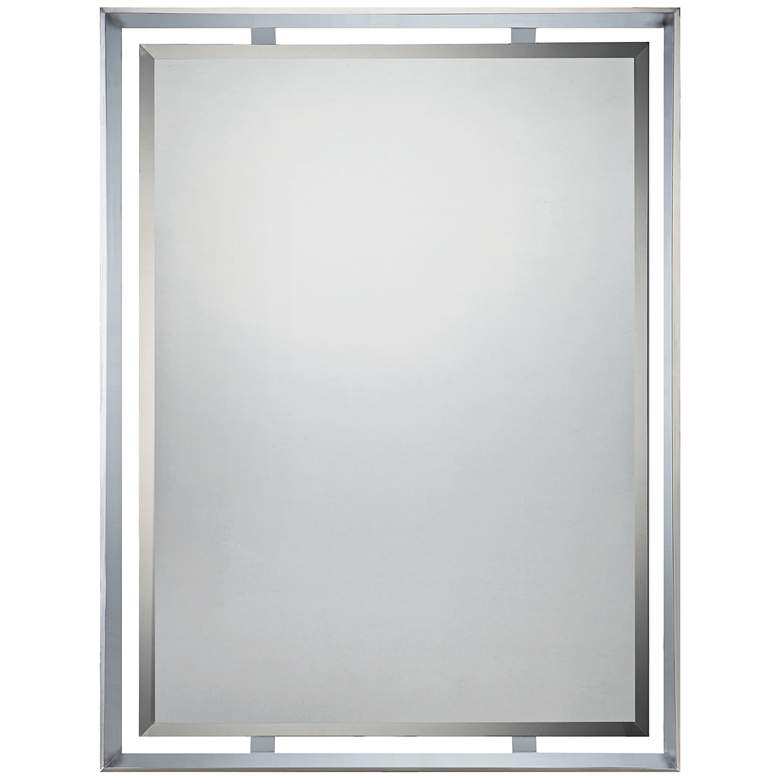 "Quoizel Uptown Ritz Chrome 26"" x 34"" Rectangular Wall Mirror"