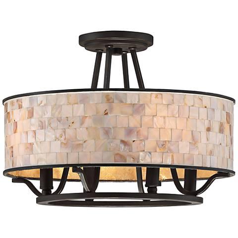 """Aristocrat 15 3/4"""" Wide Palladian Bronze Ceiling Light"""