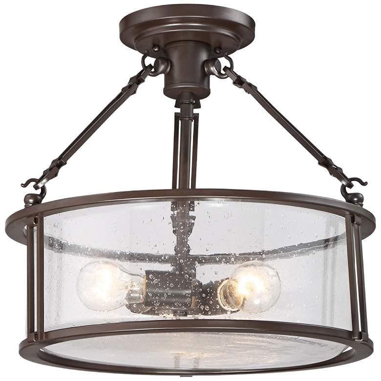 "Quoizel Buchanan 16"" Wide Western Bronze Ceiling Light"