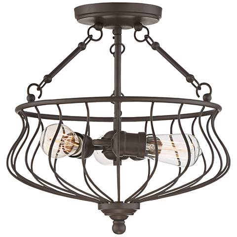 """Quoizel Baroness 15 1/4"""" Wide Western Bronze Ceiling Light"""