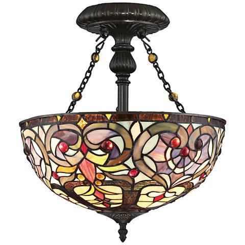"Quoizel Carroll 14 1/4"" Wide Vintage Bronze Ceiling Light"