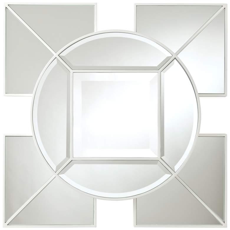 """Arabesque White Geometric 24"""" Square Silver Wall Mirror"""