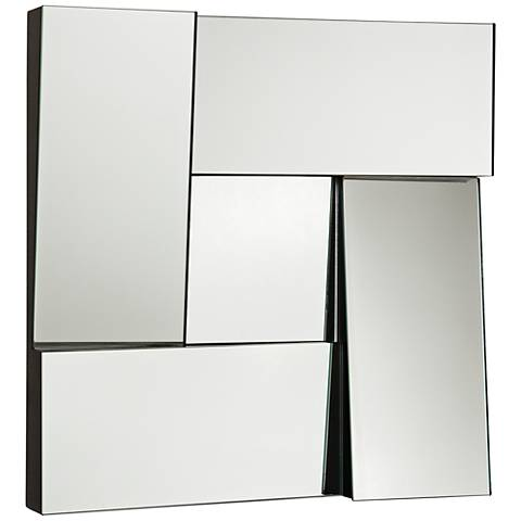 "New Angle Black 17"" Square Dimensional Modern Wall Mirror"