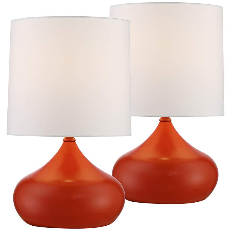 """Set of 2 Steel Droplet 14 3/4""""H Small Orange Accent Lamps"""