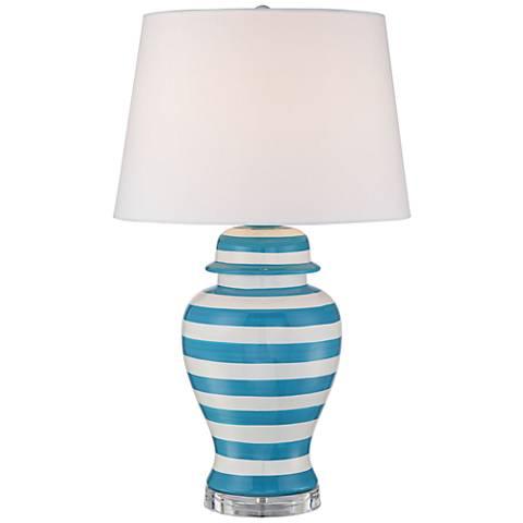 Sea Island Teal Stripe Ceramic Table Lamp