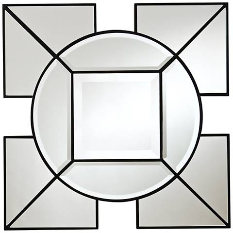 "Arabesque Black Geometric 24"" Square Silver Wall Mirror"