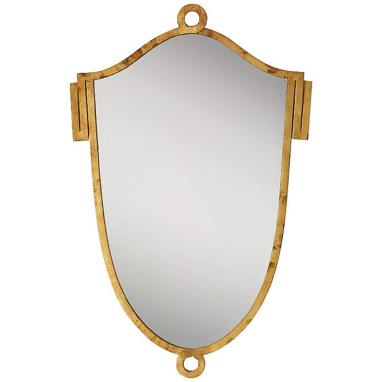 "China Ring Shield Gold Leaf 23 1/2"" x 37"" Wall Mirror"