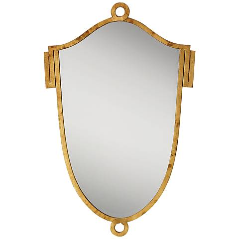 "China Ring Shield 37"" x23 1/2"" Gold Leaf Wall Mirror"