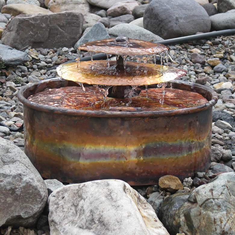 """Aquarius 14"""" High Handcrafted Copper Bowl Water Fountain"""