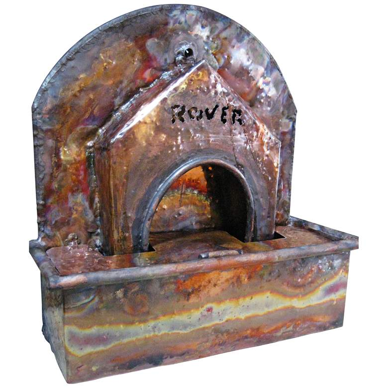 "Doghouse 16"" High Handcrafted Copper Tabletop Fountain"