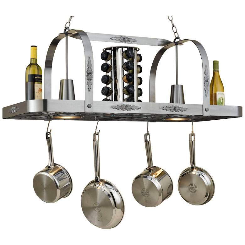"""Monterey 44"""" Wide 2-Light Satin Steel Pot Rack Chandelier"""