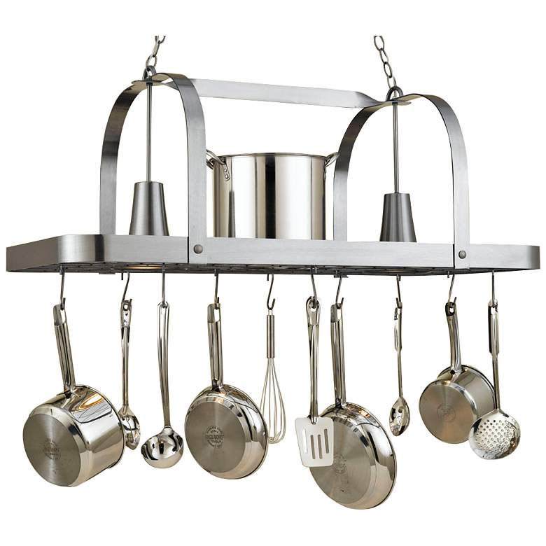 "Baker 44"" Wide 2-Light Satin Steel Pot Rack"