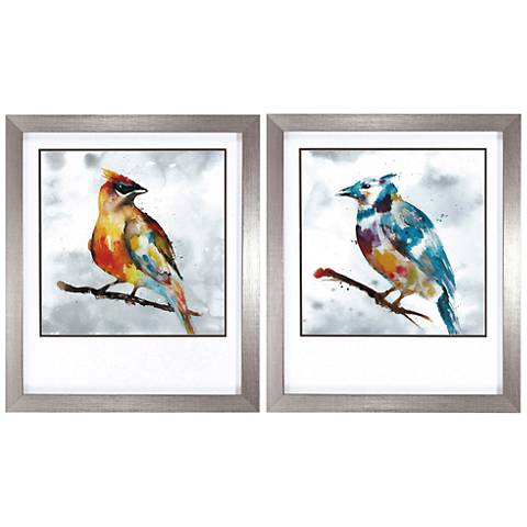 "Cardinal Blue Jay 28"" High 2-Piece Framed Wall Art Set"