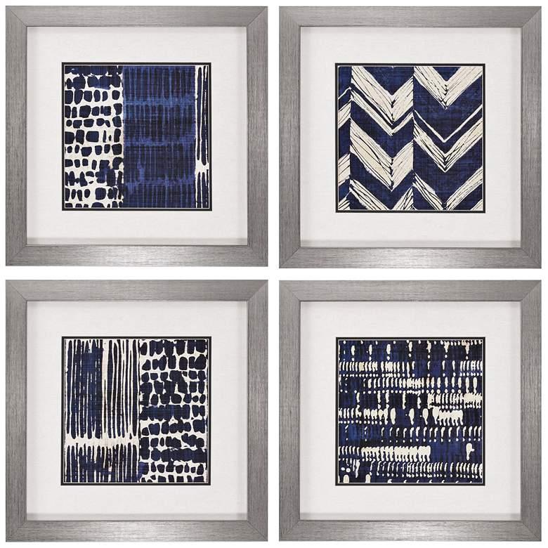 """Indigo Batik 21"""" Square 4-Piece Framed Wall Art Set"""