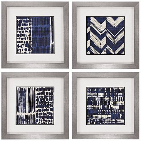 "Indigo Batik 21"" Square 4-Piece Framed Wall Art Set"