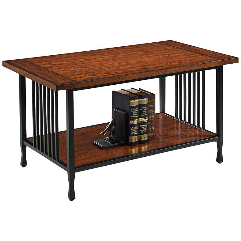 "Ironcraft 38"" Wide Metal and Mission Oak Coffee Table"
