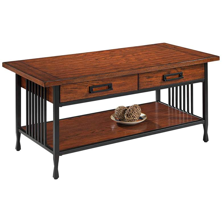 """Ironcraft 46"""" Wide Metal and Oak Top 2-Drawer Coffee Table"""