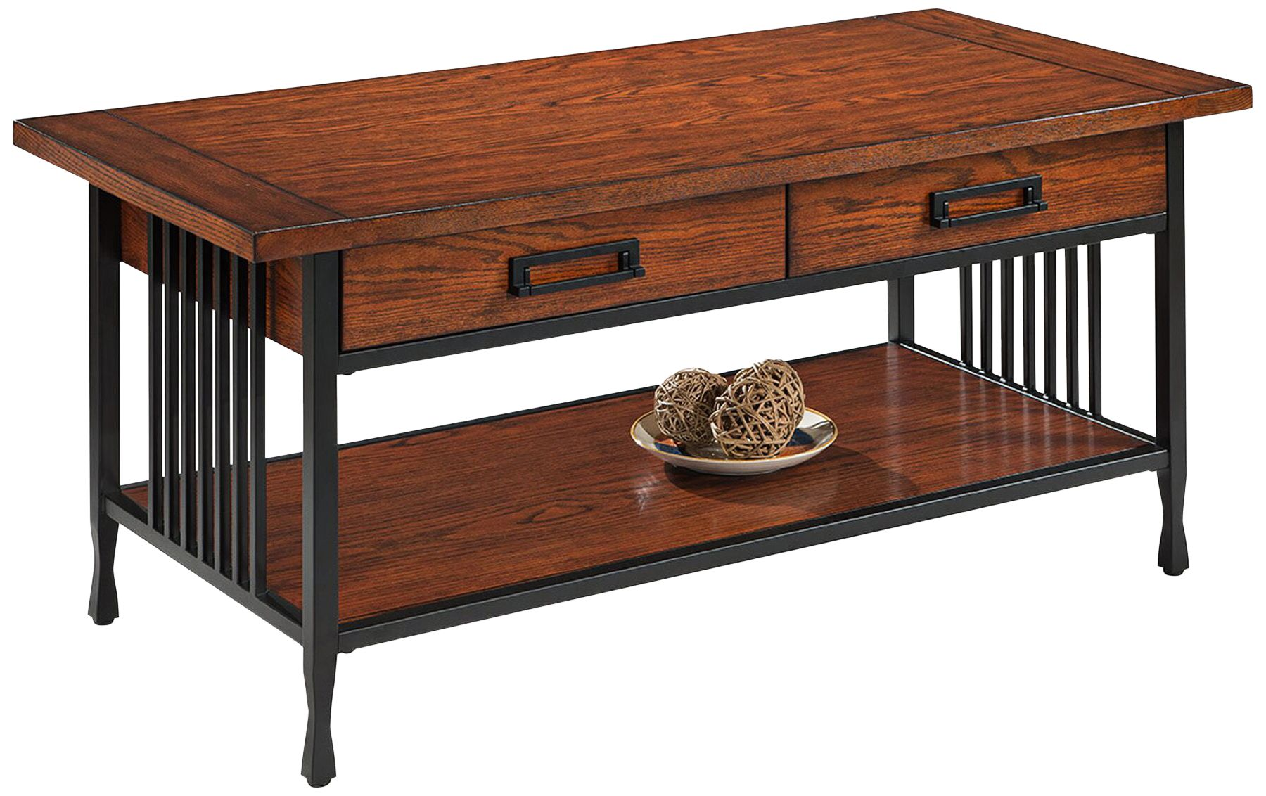 Leick Ironcraft Metal And Oak Top 2 Drawer Coffee Table