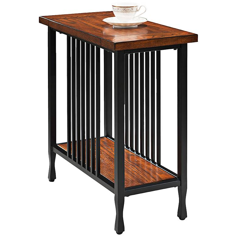 """Ironcraft 24"""" Wide Metal and Oak Top Narrow Chairside Table"""