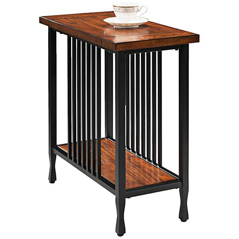 Leick Ironcraft Metal And Oak Top Narrow Chairside Table