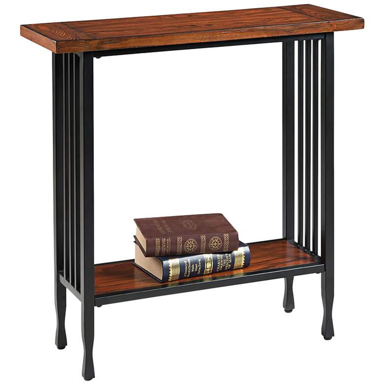 """Ironcraft 30"""" Wide Metal and Mission Oak Top Hall Stand"""