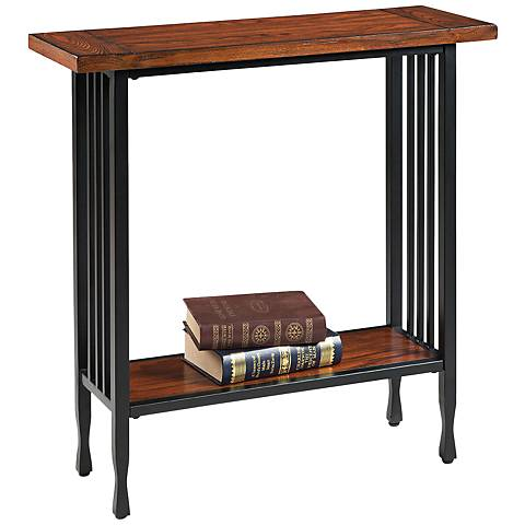 Leick Ironcraft Black Metal and Mission Oak Top Hall Stand