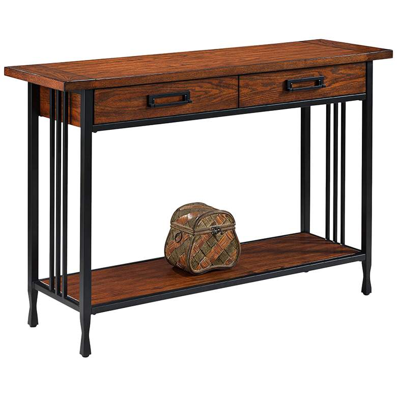 """Ironcraft 46"""" Wide Metal and Oak Top 2-Drawer Sofa Table"""
