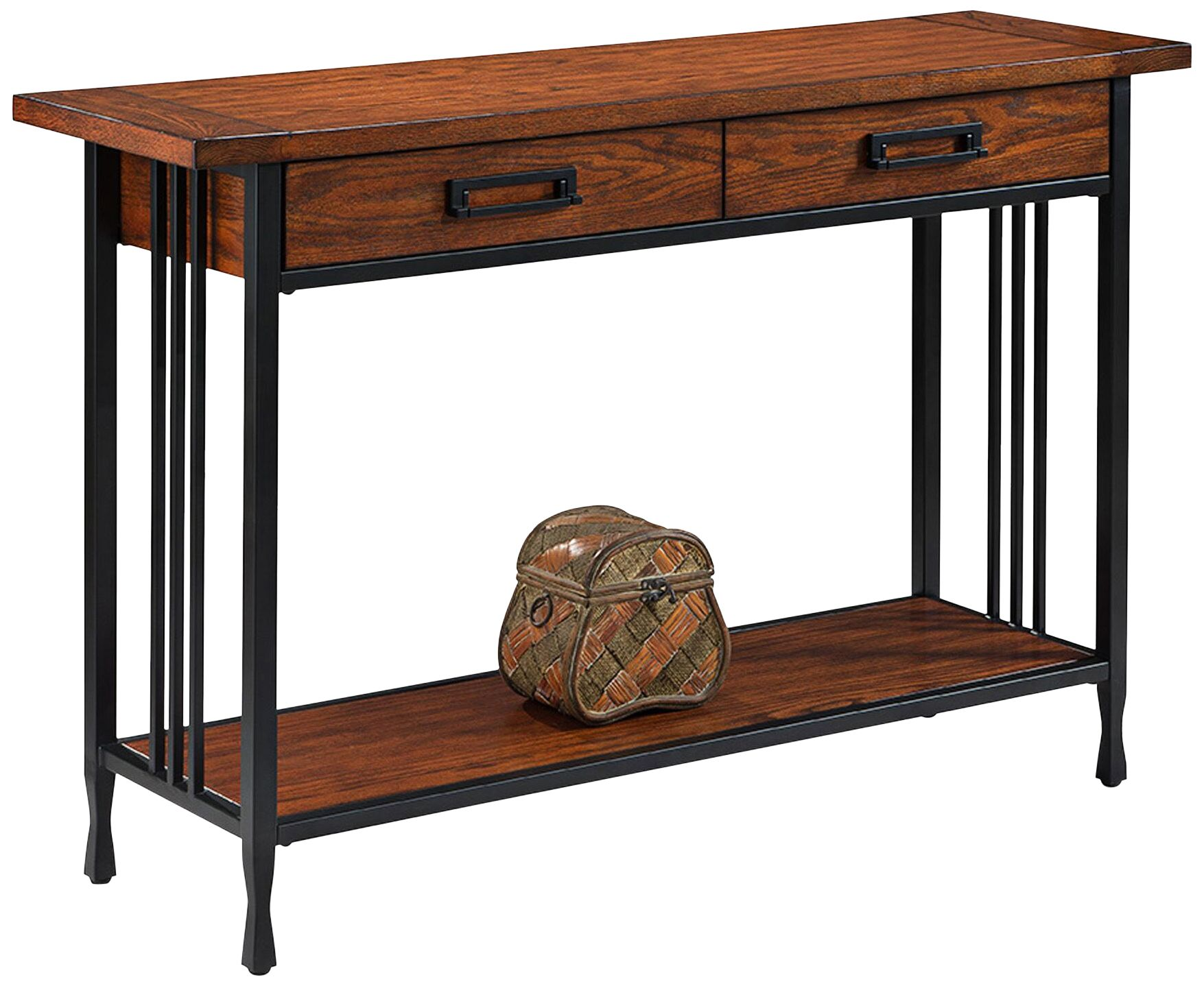 Leick Ironcraft Black Metal And Oak Top 2 Drawer Sofa Table