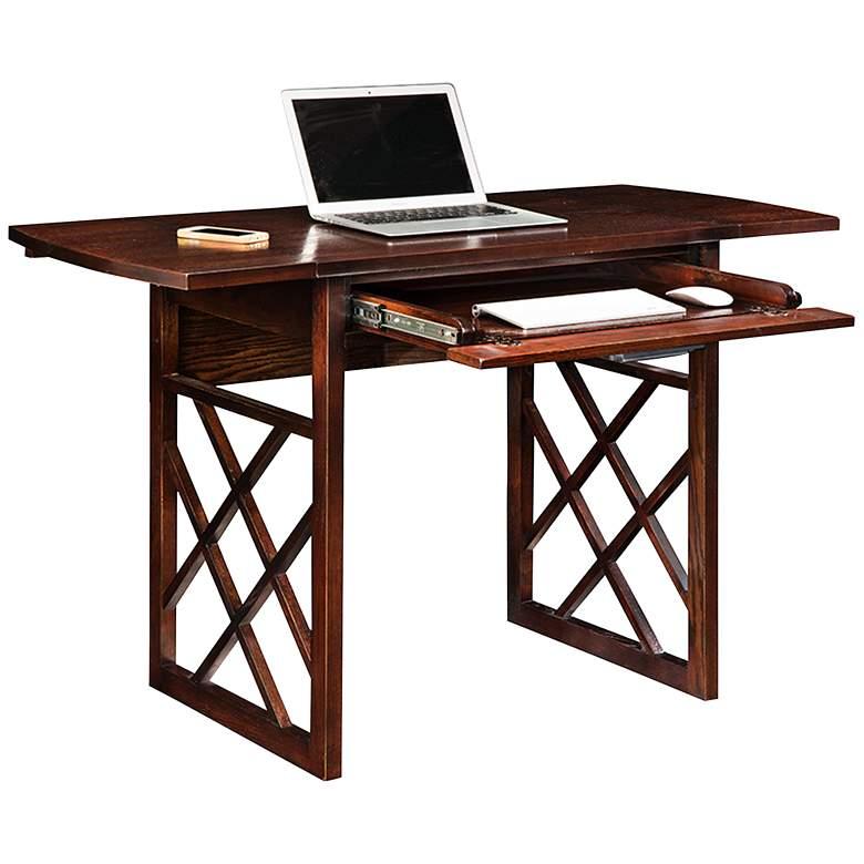 "Chocolate Oak 47 1/2"" Wide Drop Leaf Computer Writing Desk"