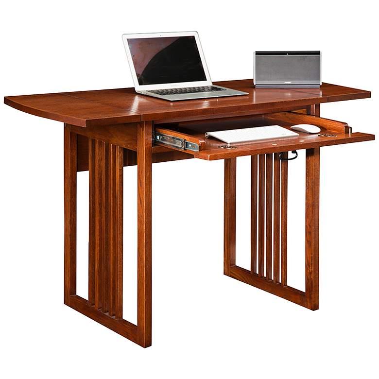 """Mission Oak 47 1/2"""" Wide Drop Leaf Computer Writing Desk"""