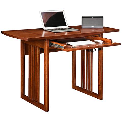 Leick Mission Oak Wood Drop Leaf Computer Writing Desk
